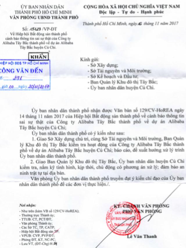 UBND TPHCM vừa có văn bản số 15123/VP-ĐT gửi khẩn cấp kiểm tra hoạt động của công ty địa ốc Alibaba.