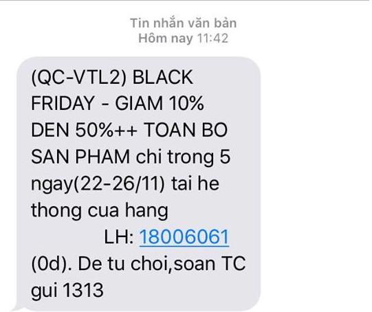 Nhắn tin tới khách hàng về chương trình giảm giá ngày Thứ Sáu đen