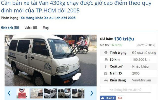 Chiếc xe tải Van nhập Hàn Quốc 2N/430kg biển TP.HCM này đang được rao bán giá 130 triệu đồng. Theo quảng cáo, xe chạy được giờ cấm theo quy định mới của TP. HCM.