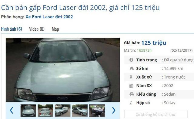 Chiếc Ford Laser đời 2002 đang được rao bán 125 triệu đồng trên chợ ô tô cũ. Theo giới thiệu của người bán, xe được gìn giữ cẩn thận nên khách mua có thể lăn bánh luôn.