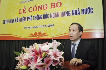 Tân Phó Thống đốc NHNN Đoàn Thái Sơn phát biểu tại buổi lễ