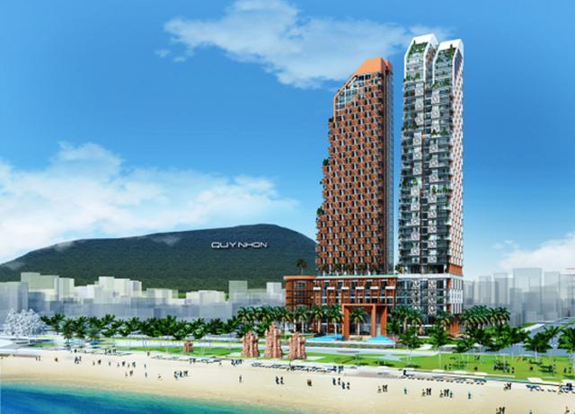 Phối cảnh dự Khu phức hợp Khách sạn, Thương mại và Căn hộ cao cấp Thiên Hưng có mức đầu tư hơn 2.900 tỷ đồng. Đây cũng được xem là khu đất vàng với căn hộ hướng ra biển Quy Nhơn tuyệt đẹp.