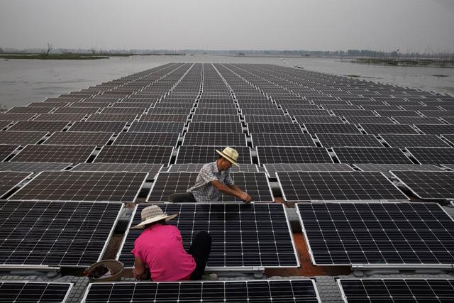 Các công nhân đang chuẩn bị những tấm pin mặt trời để chúng có thể hoạt động tốt nhất. (Nguồn: Kevin Frayer/Getty Images)