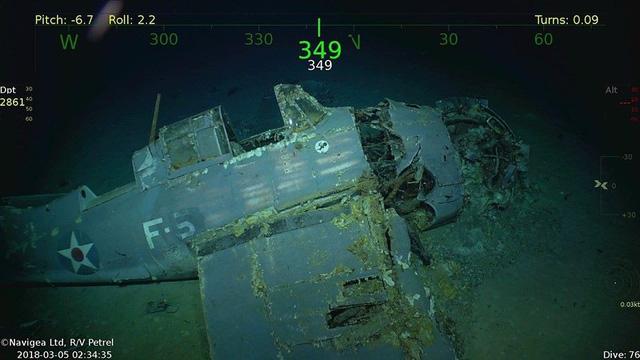 Một chiếc máy bay chiến đấu chìm cùng con tàu USS Lexington được tìm thấy. (Nguồn: Vulcan Photo)