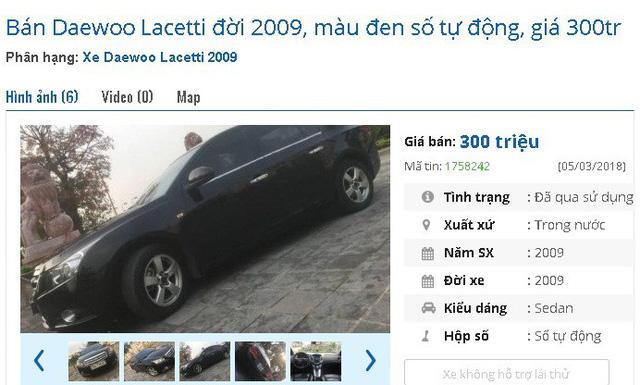 Nếu đang có 300 triệu đồng, bạn có thể tham khảo chiếc Daewoo Lacetti đời 2009, màu đen số tự động này.