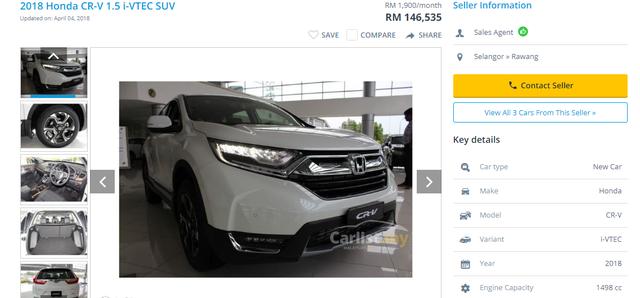 Giá dòng xe CRV đời mới nhất bán tại Malaysia