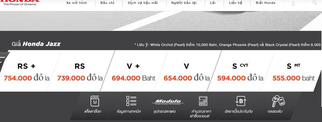 Giá niêm yết của xe Jazz tại Thái Lan