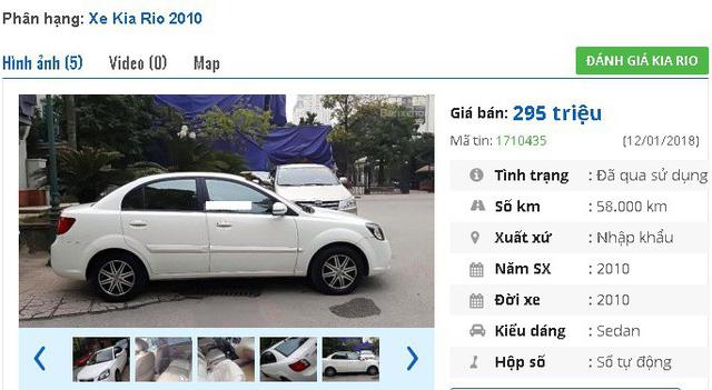 Một chiếc Kia Pride 2009 khác cũng đang được rao bán tầm giá 200 triệu đồng, với mức giá rao bán là 289 triệu đồng. Theo quảng cáo của người bán thì đây là xe nhà đi, chưa đâm va hay ngập nước.