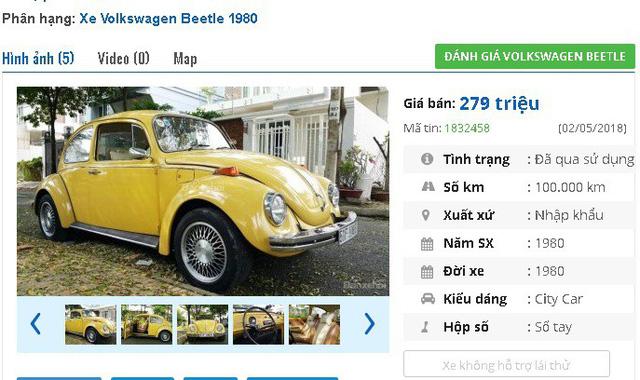 """Chiếc Volkswagen Beetle đời 1980, nhập khẩu được quảng cáo là """"đẹp xuất sắc từ trong ra ngoài"""" này có giá rao bán là 268 triệu đồng."""