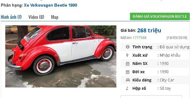 """Một chiếc Volkswagen Beetle khác sản xuất 1990, hai màu đỏ trắng, nhập khẩu đang được rao bán giá 268 triệu đồng. Thông tin về xe là """"nguyên bản, máy tốt. Xe từng gắn liền với nhiều nhân vật nổi tiếng, xuất hiện trong nhiều bộ phim của điện ảnh Mỹ, điện ảnh Hồng Kông (Trung Quốc)…như phim: Herbie, the Love Bug, Mad Max...""""."""