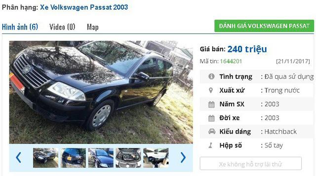 Một chiếc Volkswagen PassatMT đời 2003 đang cần bán gấp, giá rao bán là 240 triệu đồng. Xe được giới thiệu là bản 1.9 Diesel tubo, được trang bị 6 túi khí, 3 màn hình, thắng ABS.