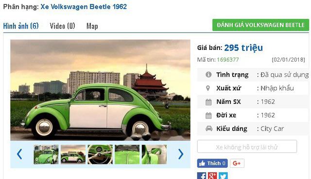 """Chiếc Volkswagen Beetle nhỏ xinh đời 1962, nhập khẩu này hiện đang được rao bán giá 295 triệu đồng trên chợ xe hơi cũ. Theo quảng cáo của người bán thì """"xe còn tốt, điều hoà mát lạnh, có loa và các thiết bị chơi nhạc và kết nối với smart phone""""."""