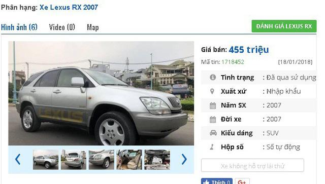 3 chiếc ô tô Lexus cũ số tự động này đang rao bán tầm giá 400 triệu đồng tại Việt Nam