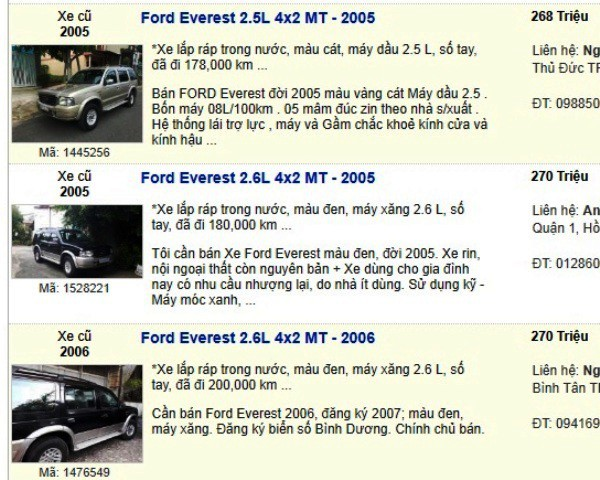 Ngắm những chiếc xe 7 chỗ đang được rao bán giá 200 triệu đồng