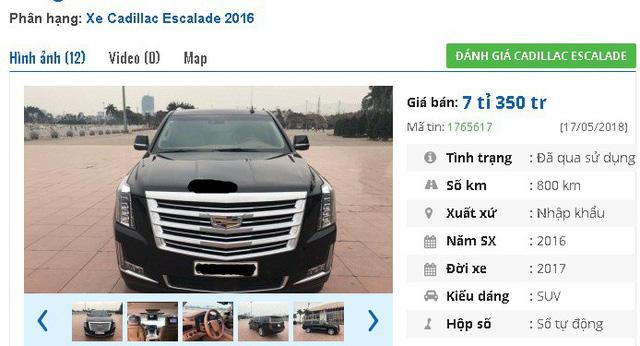 """Một chiếc Cadillac Escalade ESV Platinum, đời 2017, xe chạy 800km được rao bán giá 7,35 tỷ đồng. Xe được giới thiệu là """"phiên bản fulloption: Loa Bose, camera 360, phanh khoảng cách, hắt kính, DVD sau, DVD trần, hộp lạnh, ghế matxa...""""."""
