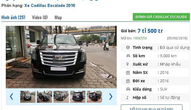 7,5 tỷ đồng là mức giá rao bán của chiếc Cadillac Escalade Platinum, màu đen, xuất xứ Mỹ, đời 2016 này. Xe có dung tích xi lanh 6,2l, động cơ V8 và hộp số tự động 8 cấp số thể thao.
