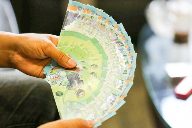 Tờ tiền bằng chất liệu polymer, được đánh giá là tờ tiền đẹp với màu xanh chủ đạo.