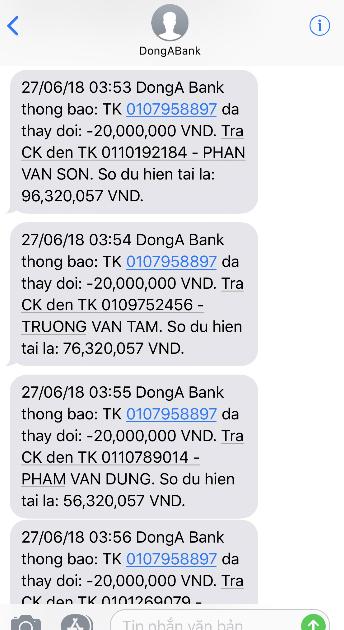 Thông báo số dư tài khoản của chị Duyên vừa mất 116 triệu tại DongA Bank.