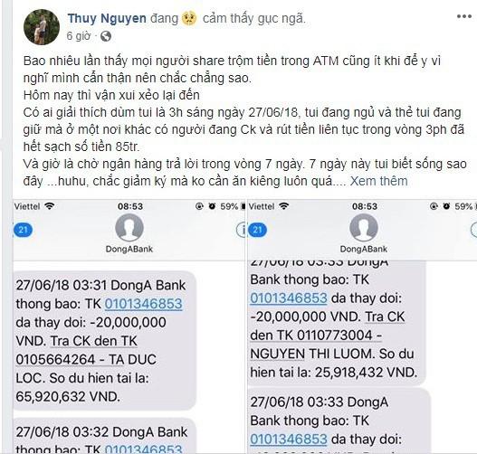Chị Thùy, khách hàng của Ngân hàng Đông Á đưa sự việc lên mạng xã hội để mọi người xung quanh cảnh giác.