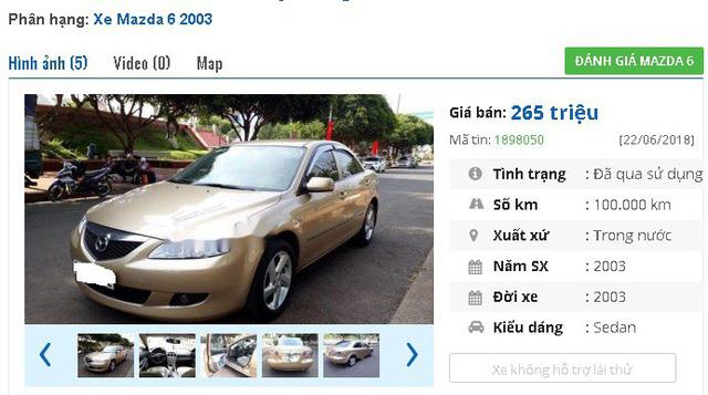 """265 triệu đồng là giá rao bán của chiếc xe Mazda 6 máy xăng đời 2003. Xe được giới thiệu là """"mới chạy 10 vạn, nội ngoại thất đẹp""""."""