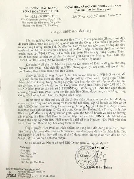 Ngày 25/11/2015, ông Trịnh Hữu Thắng, Giám đốc Sở KH&ĐT tỉnh Bắc Giang ký công văn đề nghị UBND tỉnh Bắc Giang chấp thuận cho ông Nguyễn Hữu Phải mượn đất công viên làm dự án sân tập golf.
