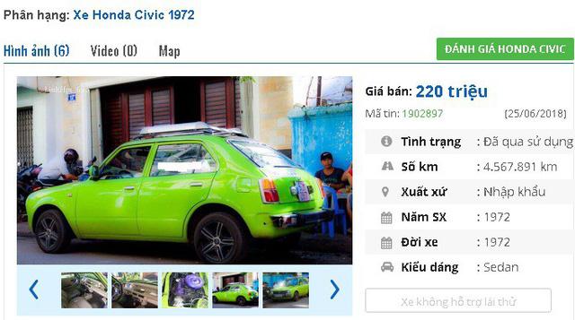 """Một chiếc Honda Civic đời """"cổ lỗ sĩ"""" 1972, màu xanh """"rực rỡ"""", hàng nhập khẩu hiện đang được rao bán. Giá rao bán của chiếc xe là 220 triệu đồng, đã thêm máy lạnh."""