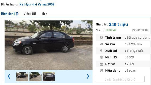 """245 triệu là giá rao bán của chiếc Hyundai Verna đời 2008 này. Theo giới thiệu của chủ nhân, xe """"nội thất đầy đủ, GPS, camera, động cơ diesel tiết kiệm tiêu thụ 5l/100km""""."""