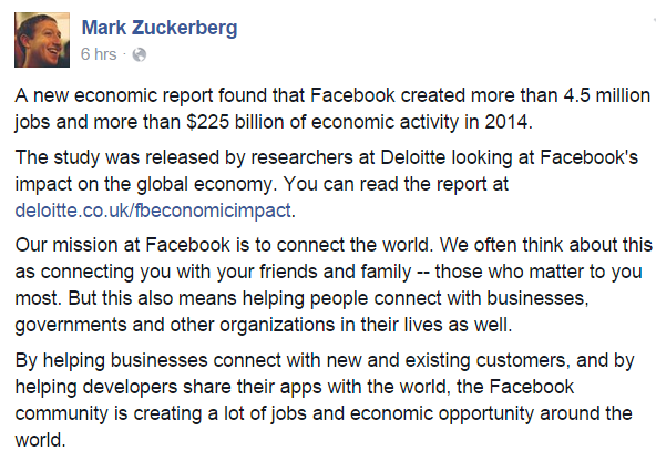 Kinh doanh trên Facebook tạo ra 225 tỷ USD trong năm 2014